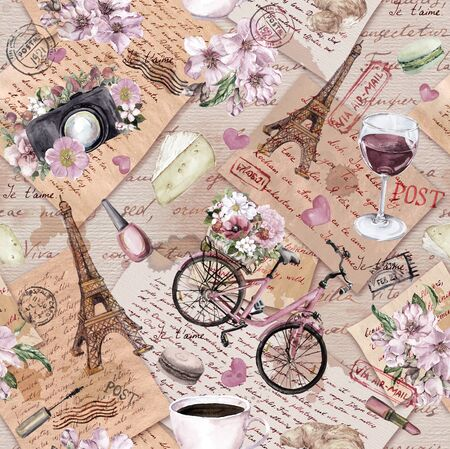 France travel seamless pattern. Eiffel tower, flowers, bicycle, wine, hearts on old paper texture. Handwritten notes, postcards, postal marks and stamps. Repeating vintage background about Paris