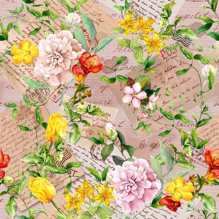 Hand written letters, stamps, meadow flowers, wild grasses. Seamless pattern at vintage aged paper