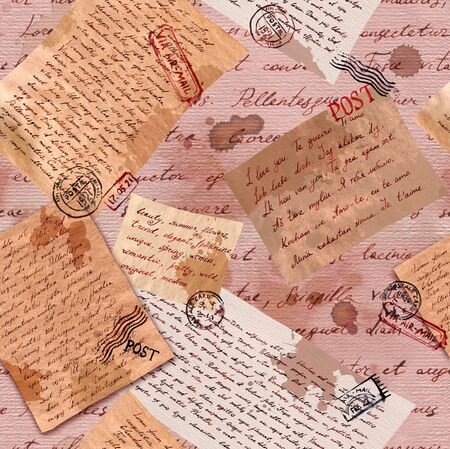 Vintage old paper with hand written letters and postal stamps. Repeating wallpaper for interior design