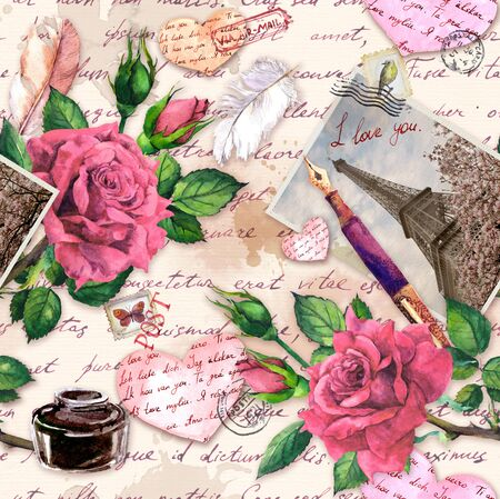 Hand written notes I love you , pen, ink bottle, paper hearts, vintage photo of Eiffel Tower, rose flowers, postal stamps. Repeated pattern about France, Paris for Valentine day, wedding design