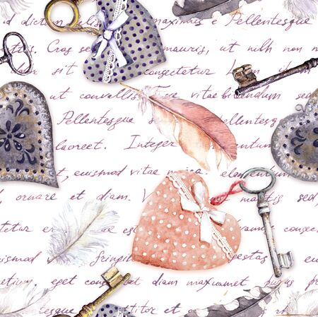 Vintage background - hearts, old keys and feathers. Seamless pattern with hand written letters. Watercolor for Valentine day, love, wedding design Zdjęcie Seryjne