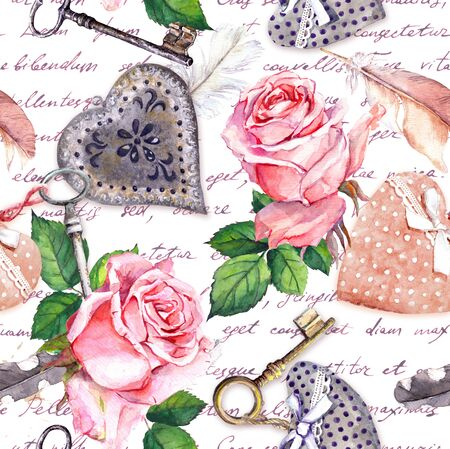 Hand written text, pink roses, feathers, keys with handwritten notes. Repeating background in vintage style. Watercolor for Valentine day