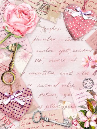 Aged paper with rose flowers, hand written letters, keys, roses, pink textile hearts. Vintage card