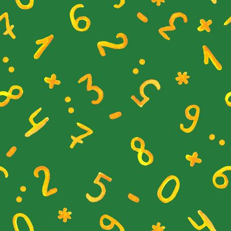 Seamless green board pattern with watercolour written numbers