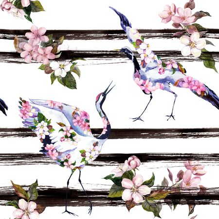 Crane birds with pink spring flowers at monochrome striped background. Seamless floral pattern - cherry blossom, apple flowers. Spring watercolor with black stripes 写真素材 - 130043725