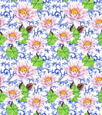 Lily flowers, waterlily, ornate oriental design. Seamless floral pattern. Water color
