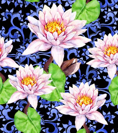 Lily flowers, waterlily, ethnic decorative ornament. Seamless floral background. Watercolor