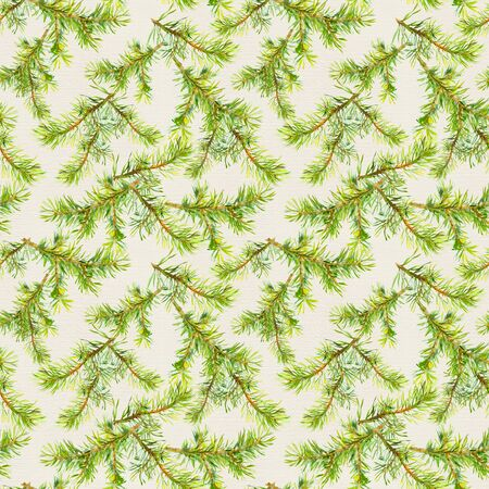 New year seamless pattern with branches of christmas tree