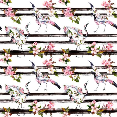 Crane birds with pink spring flowers at monochrome striped background. Seamless floral pattern - cherry blossom, apple flowers. Spring watercolor with black stripes
