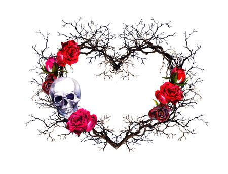Heart shape, human skull. Twigs, rose flowers. Watercolor in grunge gothic style Standard-Bild