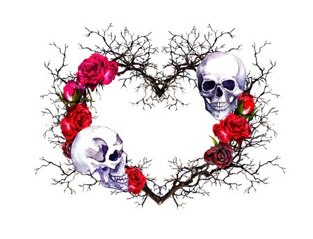 Heart with human skull. Branches, red rose flowers. Watercolor for Halloween Stockfoto