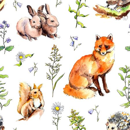 Forest animals - rabbits, fox, squirrel, hedgehog in grass, flowers. Seamless pattern. Watercolor in sketch style