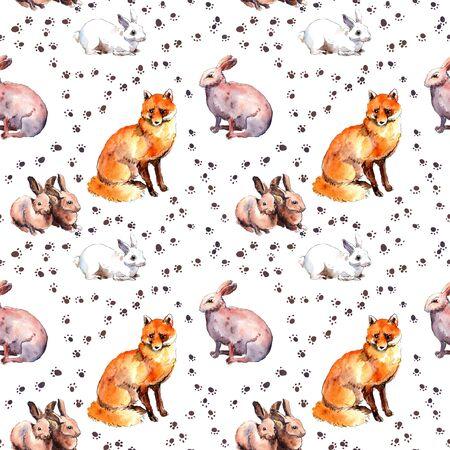 Fox and rabbits. Wild animal wallpaper with footprint. Repeating watercolor sketch 版權商用圖片