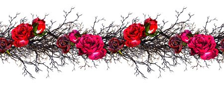 Rose flowers, branches. Seamless border frame. Watercolor Imagens