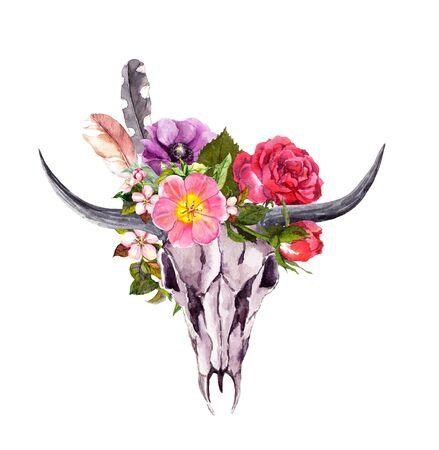 Buffalo skull, flowers. Watercolor in boho style
