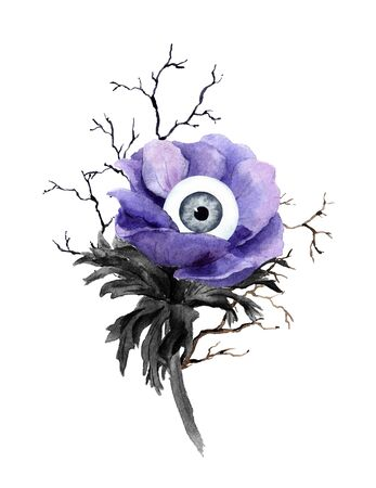 Unusual halloween design - weird flower with eye, branches. Watercolor Imagens