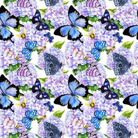 Blue hydrangea flowers, butterflies, bees. Seamless floral pattern. Watercolor. Banco de Imagens