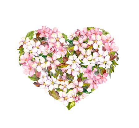 Floral heart with cherry blossom flowers. Valentine Watercolor