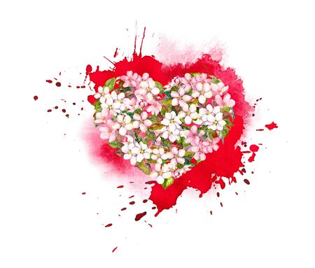 Floral heart with pink flowers on red artistic watercolor splash. Expressive emotional heart for Valentine day