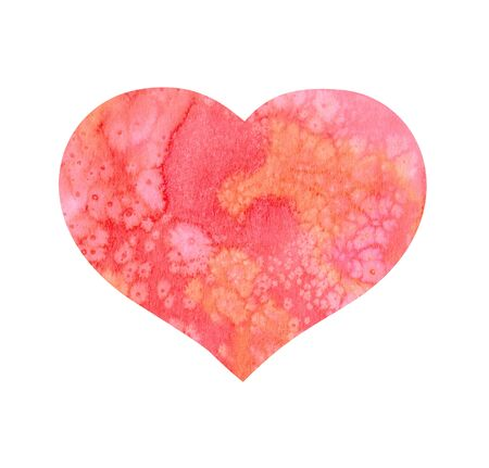 Pink heart for Valentine day with watercolor texture - splashes