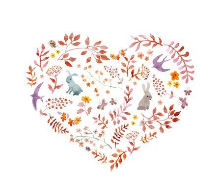Vintage heart - autumn leaves, rabbits, birds. Watercolor Stock Photo