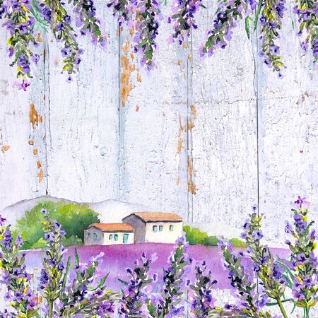 Lavender flowers and farm houses. Watercolor card Foto de archivo - 149528122