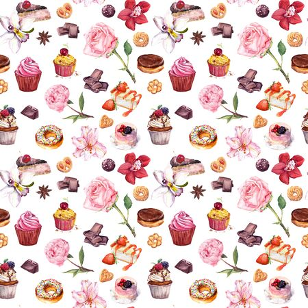 Desserts, hand drawn watercolor seamless pattern. Aquarelle orchid, rose and peony background. Delicious sweets, cakes, pastry, chocolate