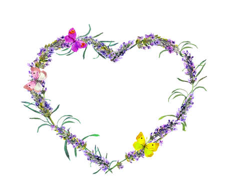 Floral wreath - heart shape with lavender flowers. Watercolor
