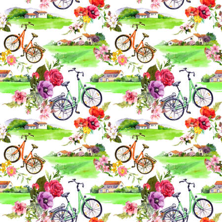 Rural landscapes - village houses, bicycle, flowers. Seamless floral pattern. Watercolor summer design