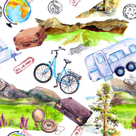 Bicycle, trailer car, mountains, cases, backpacks, postal marks. Travel, trip concept. Repeating background. Watercolor Фото со стока