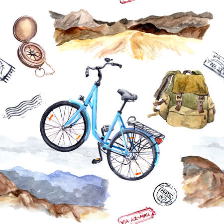 Compass, bycicle, mountains. Exploring concept. Travel seamless pattern. Watercolor