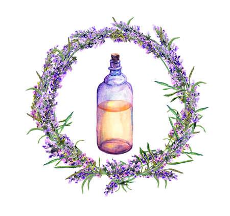 Lavender oil - perfume bottle in lavender flowers wreath. Watercolor for perfume, beauty design