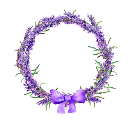 Lavender flowers wreath with bow. Watercolor floral circle