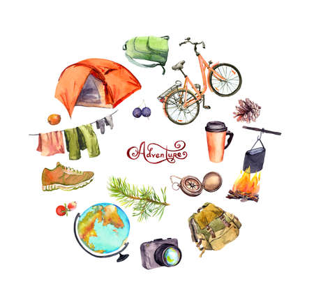 Travel design, tourist poster. Tent, camp fire, pot, cup, compass, bicycle, backpack, other touristic elements. Hand painted watercolor with text Adventure Фото со стока
