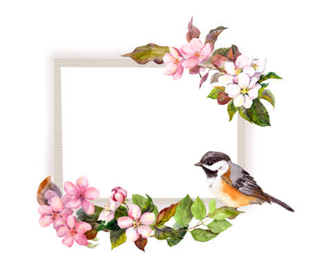 Vintage wedding card - cherry blossom flowers, cute bird. Watercolor frame for save date text Фото со стока