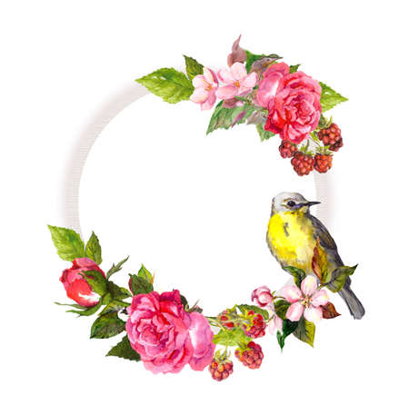Vintage floral wreath for wedding card. Flowers, roses, berries, bird. Watercolor round frame for save date text