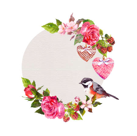 Vintage floral wreath for wedding card, Valentine design. Flowers, roses, berries, vintage hearts and bird. Watercolor round frame for save date text Фото со стока