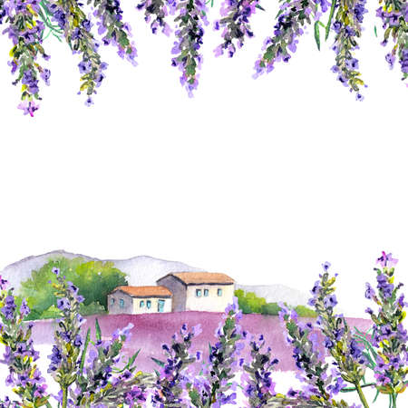 Lavender flowers and farm houses. Watercolor card Фото со стока