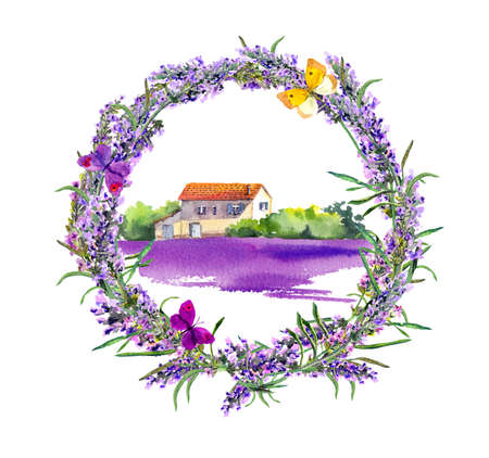 Lavender flowers wreath, farm with rustic house and violet floral field in Provence, France. Watercolor with butterflies Фото со стока