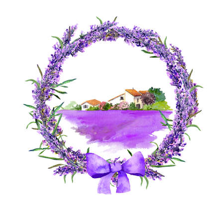 Provence rural cottage in lavender wreath watercolor illustration