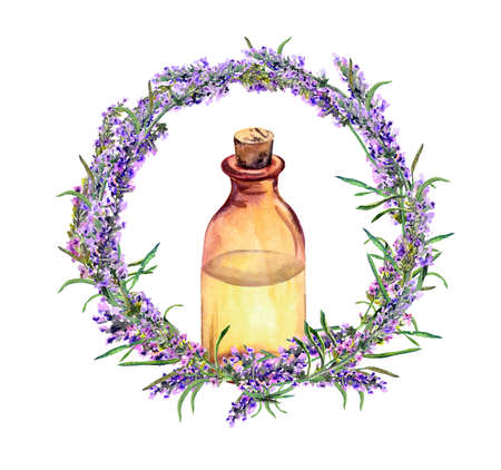 Lavender oil - perfume bottle in lavender flowers wreath. Watercolor for medicine design
