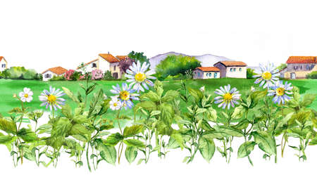 Spring meadows around a rural house. Seamless border. Watercolor illustration of village buildings with garden