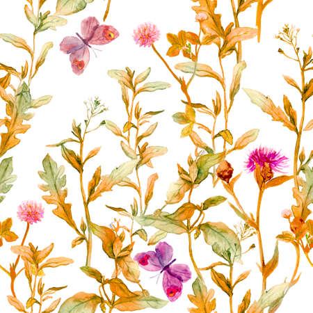 Autumn meadow, prairie. Floral sprigs, flowers. Vintage seamless spacial pattern. Watercolor Фото со стока