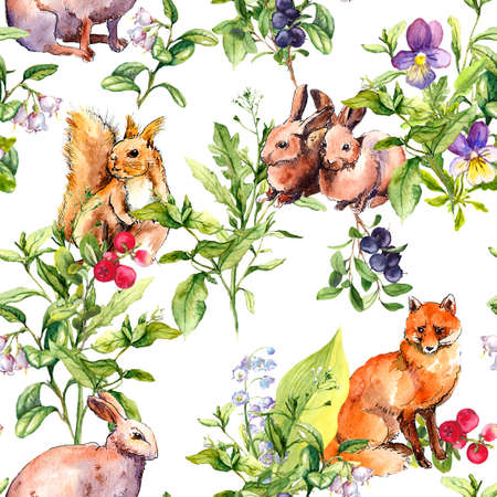 Forest animals rabbits, squirrel, fox in grass, flowers. Seamless floral pattern. Watercolor in sketch style