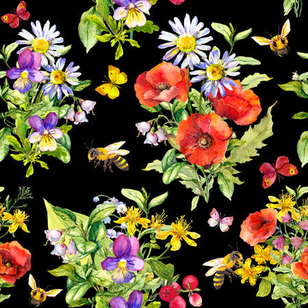 Beautiful flowers, summer grass, leaves, butterflies, bees. Seamless floral pattern on black background. Water color Фото со стока