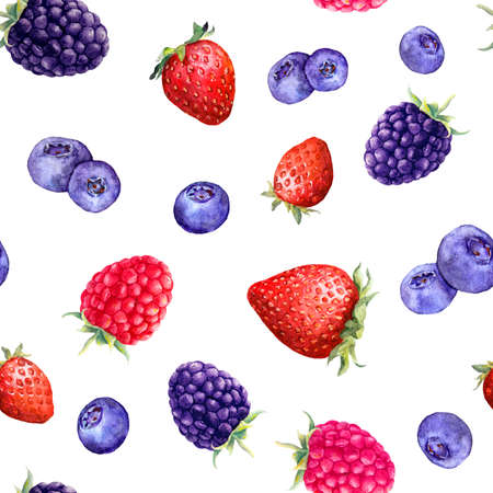 Mix of berries raspberry, strawberry, blackberry, blueberry . Seamless pattern in playful summer style. Watercolor with fruits