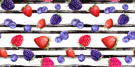 Summer ripe berries - raspberry, strawberry, blackberry, blue berry. Seamless pattern. Watercolor, ink lines, black stripes