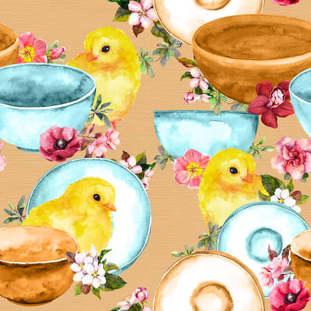 Cute chicks birds, dishes, plates, flowers. Seamless pattern with table ware, crockery Фото со стока