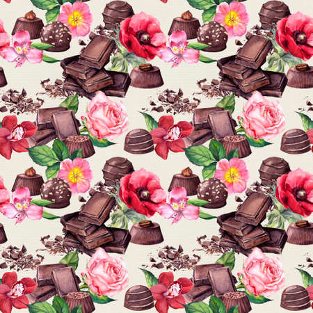 Chocolate block, chocolate candies and flowers rose, orchid . Seamless food pattern. Watercolor