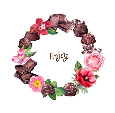 Chocolate - blocks, candies, flower. Food and flowers wreath with lettering text Enjoy . Watercolor Фото со стока